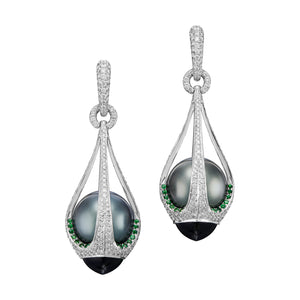 Drop-shape Tahiti black pearl earrings caged in diamond, tsavorite and tourmaline.
