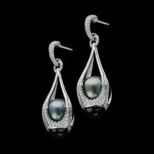 Load image into Gallery viewer, Drop-shape Tahiti black pearl earrings caged in diamond, tsavorite and tourmaline.