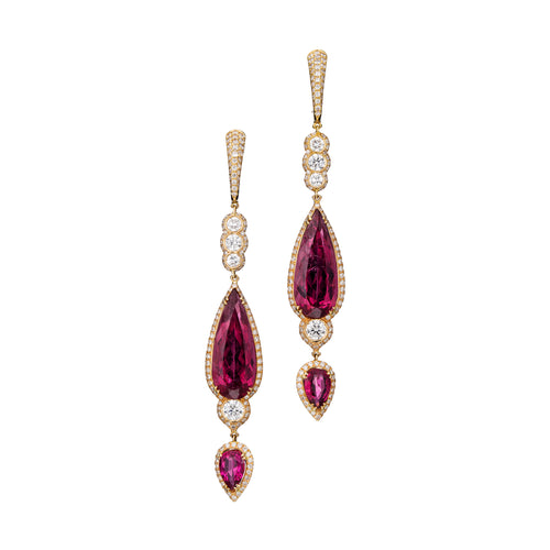Red tourmaline and diamond dangle earrings in 18k rose gold