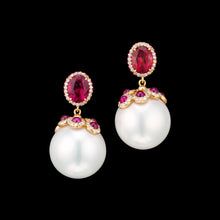 Load image into Gallery viewer, South Sea Pearl, diamonds and red tourmaline earrings in rose 18k gold