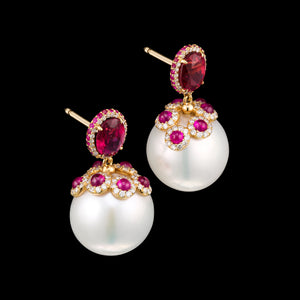 South Sea Pearl, diamonds and red tourmaline earrings in rose 18k gold
