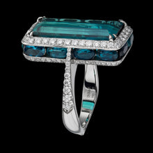 Load image into Gallery viewer, Blueish green center Tourmaline ring set in 3D with diamonds, sapphires and small tourmaline.