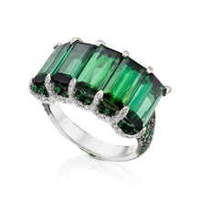 Load image into Gallery viewer, 5 green tourmaline stone ring with diamonds and tsavorite in white 18K gold.