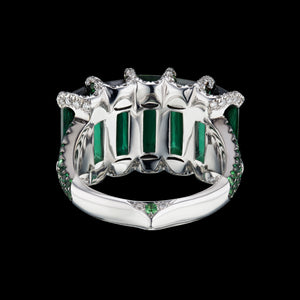 5 green tourmaline stone ring with diamonds and tsavorite in white 18K gold.