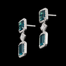 Load image into Gallery viewer, Blue Brazilian tourmaline and diamond light minimalist earrings