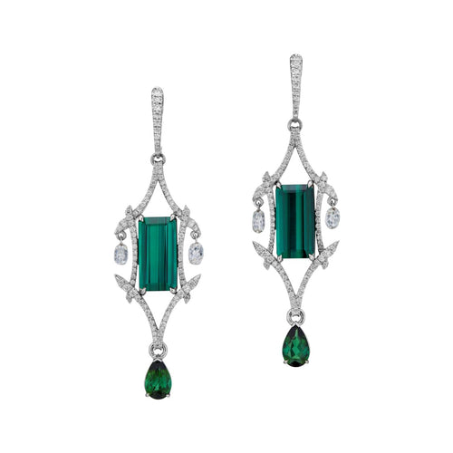 Long tourmaline geometric oriental style earrings