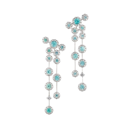 Paraiba Tourmaline and diamond flower dangle earrings