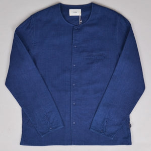 FOLK Collarless Pop Stud Shirt - DOUBLE INDIGO - LAST PIECE