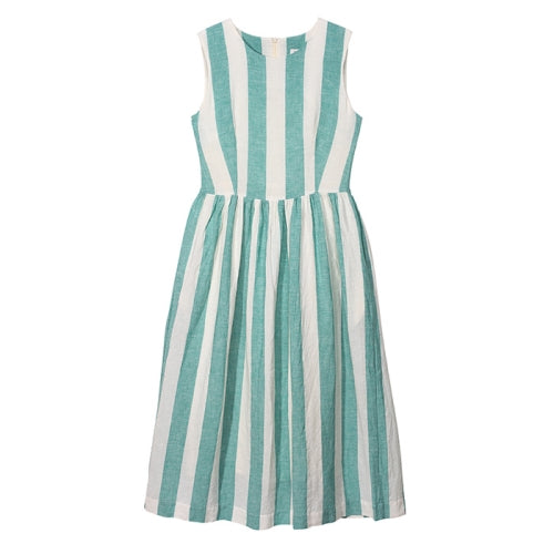 YMC Sally Dress - TURQUOISE / WHITE STRIPES - LAST PIECE