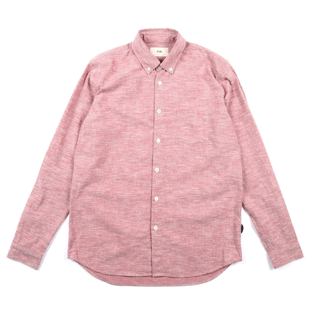 FOLK Relaxed Fit Shirt - Brick Red Melange