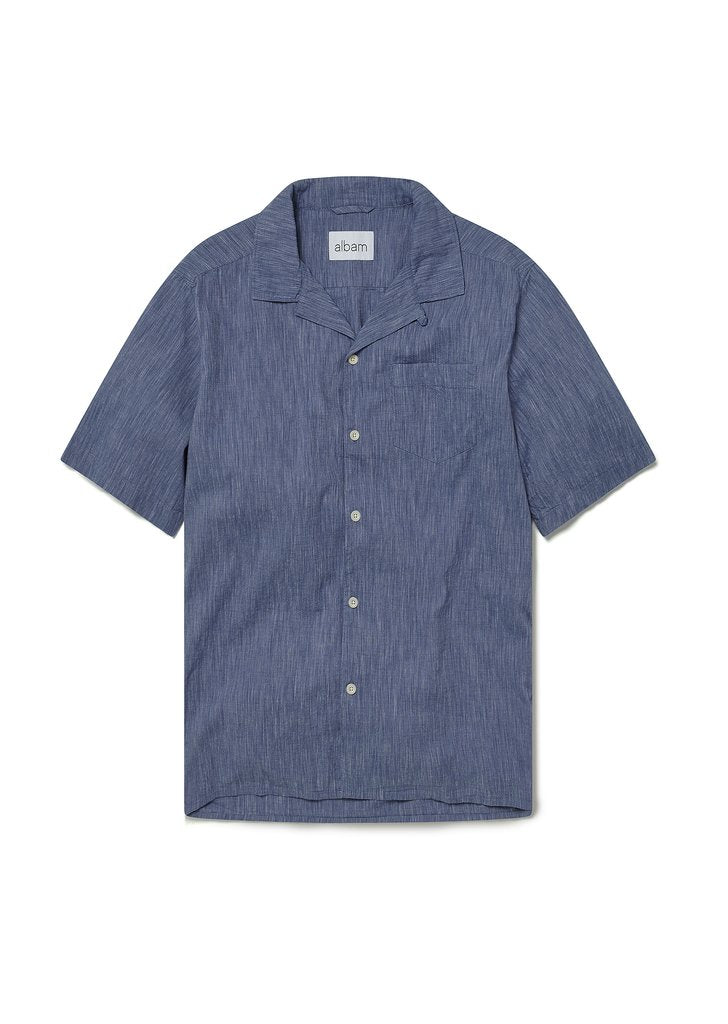 ALBAM Panama Stripe Shirt - Navy
