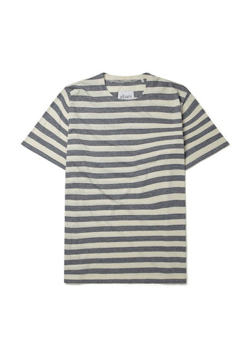 ALBAM Boat Neck Tee Blue/White Stripes