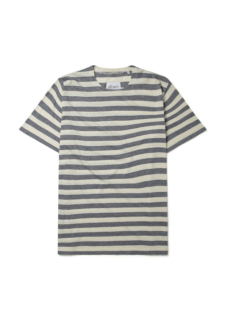 ALBAM Boat Neck Tee - BLUE / WHITE - LAST PIECE