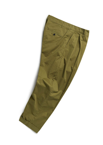 ALBAM Double Pleated Trouser - Olive Green