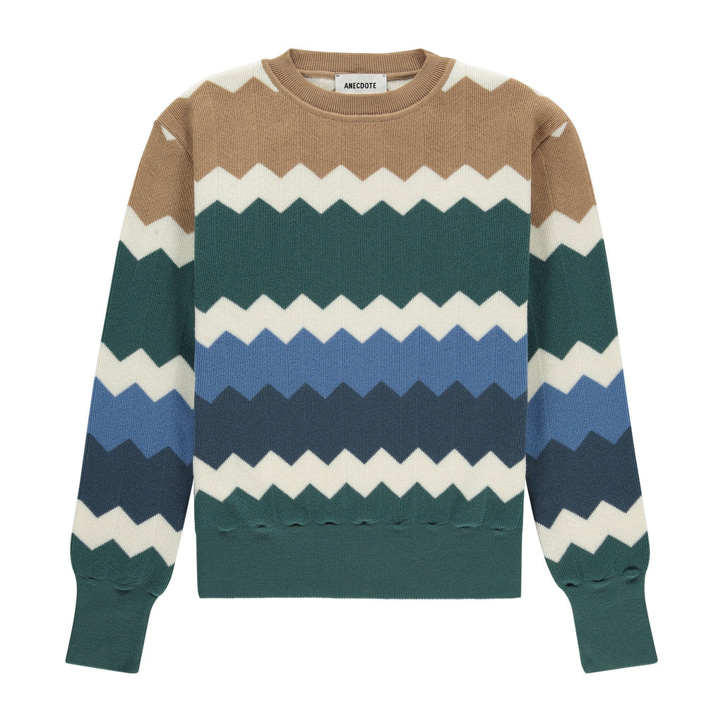 ANECDOTE Ella Sweater - SAGE MULTICOLOUR