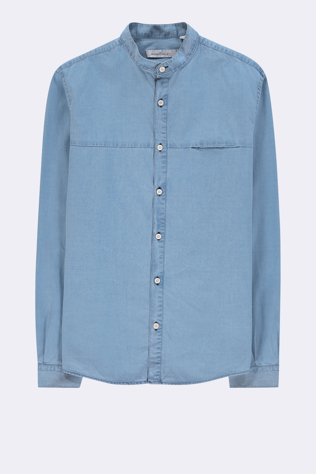 GOOD PEOPLE Mao Cotton Shirt - DENIM BLUE