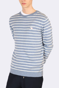 GOOD PEOPLE Striped Sweater - WHITE / LIGHT BLUE