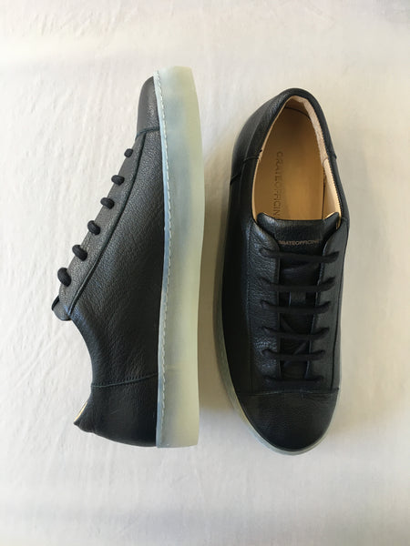 ORATE OFFICINE Ezequiel Leather Low-Top Trainer  -  BLACK (ON ICE) - LAST PIECE