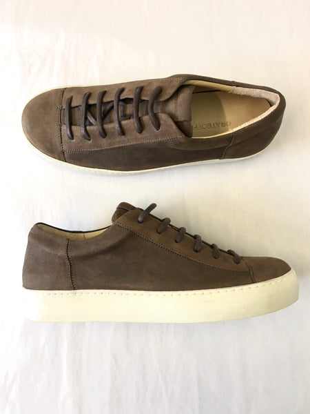 ORATE OFFICINE Ezequiel Leather Low-Top Trainer  -  BROWN (ON BEIGE)