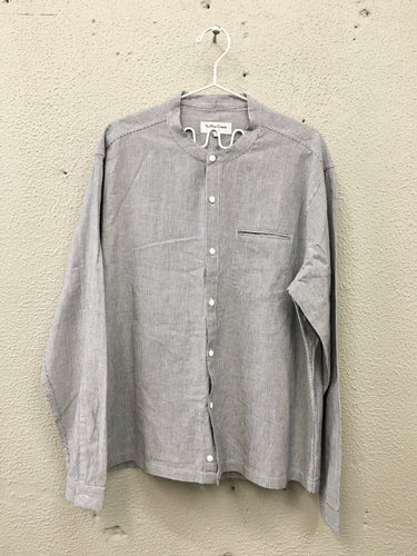 YMC Grandad Shirt - BLUE STRIPES IKAT - LAST PIECE