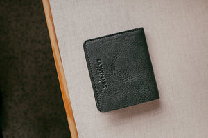 EARLYMADE Handmade Billfold Leather Wallet - BLACK / BLUE / ANTHRACITE