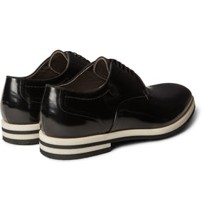ARMANDO CABRAL Black Grosgrain-trimmed Leather Derby Shoes - BLACK - LAST PIECE