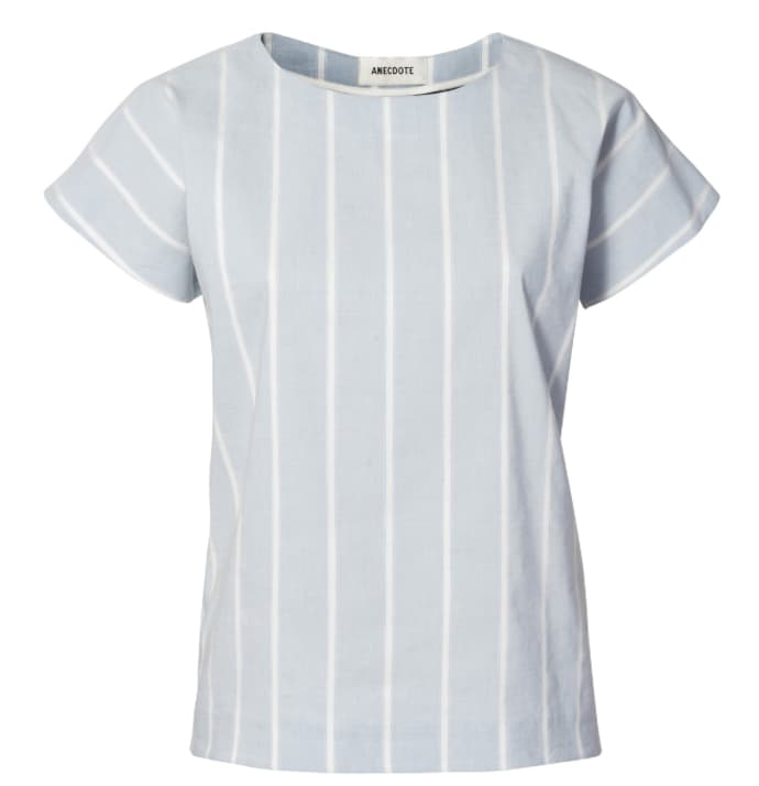 ANECDOTE Oliene Straight Cut Striped Top - Blue