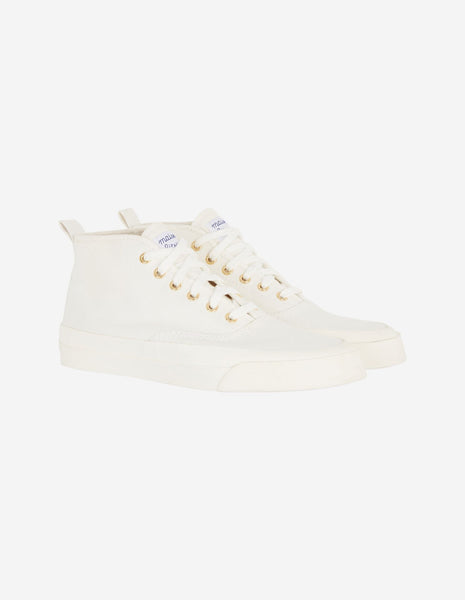 MAISON KITSUNÉ High Top Cotton Sneaker - WHITE