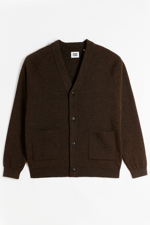 HOME CORE Costes Merino Wool Cardigan  — DARK BROWN