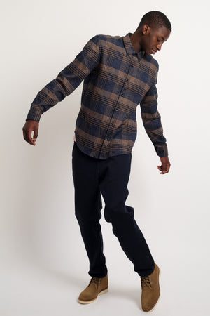 HOME CORE Tokyo Plaid Block Shirt — BLUE / BROWN