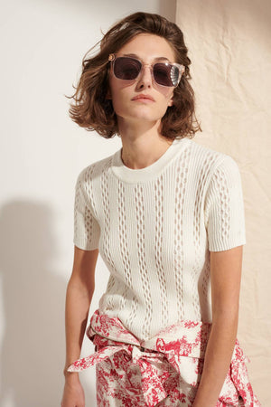 MSM Archive Eyelet Knit Sweater - OFF WHITE - LAST PIECE