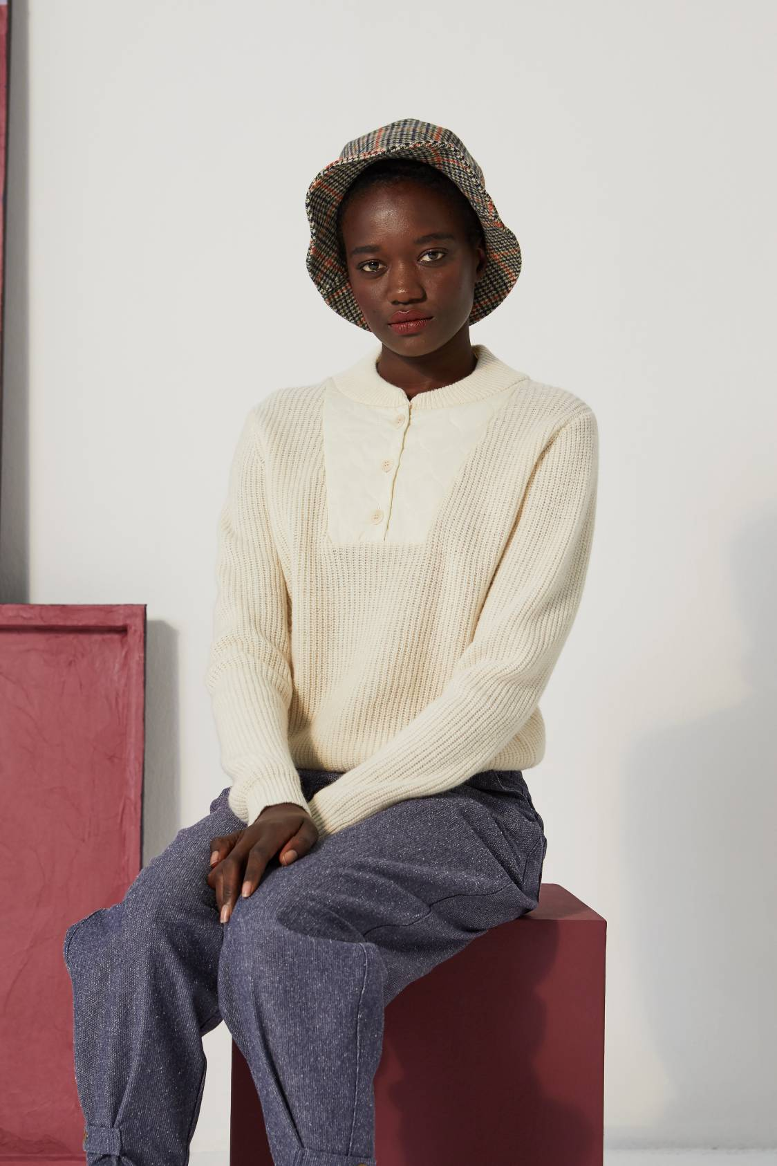 MSM Lambswool Quilted-Neck Sweater — OFF WHITE