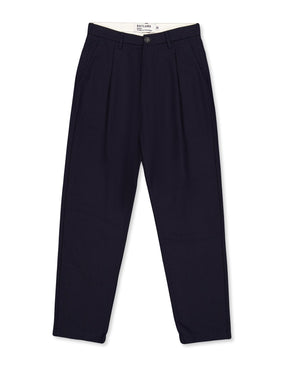 OUTLAND Pleats Wool Pants — NAVY — Handcrafted in Portugal
