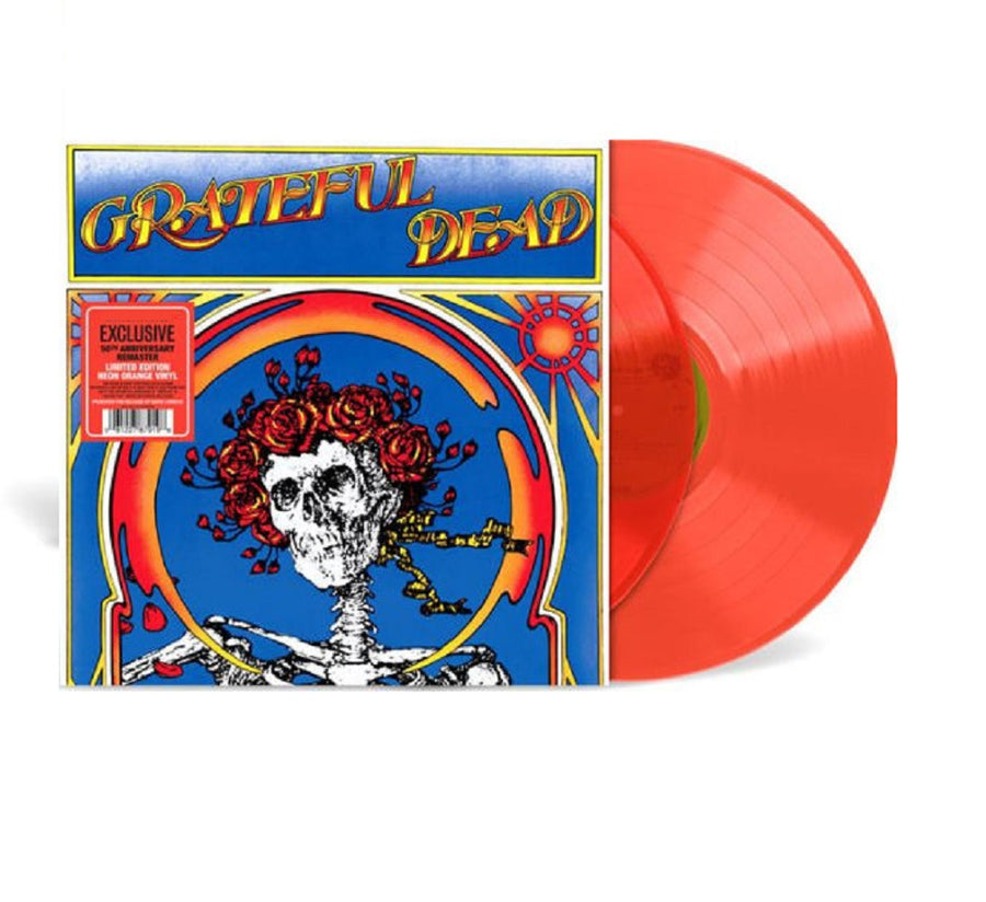 Grateful Dead (Skull & Roses) Live Exclusive Neon Orange Colored 2x LP Vinyl Record