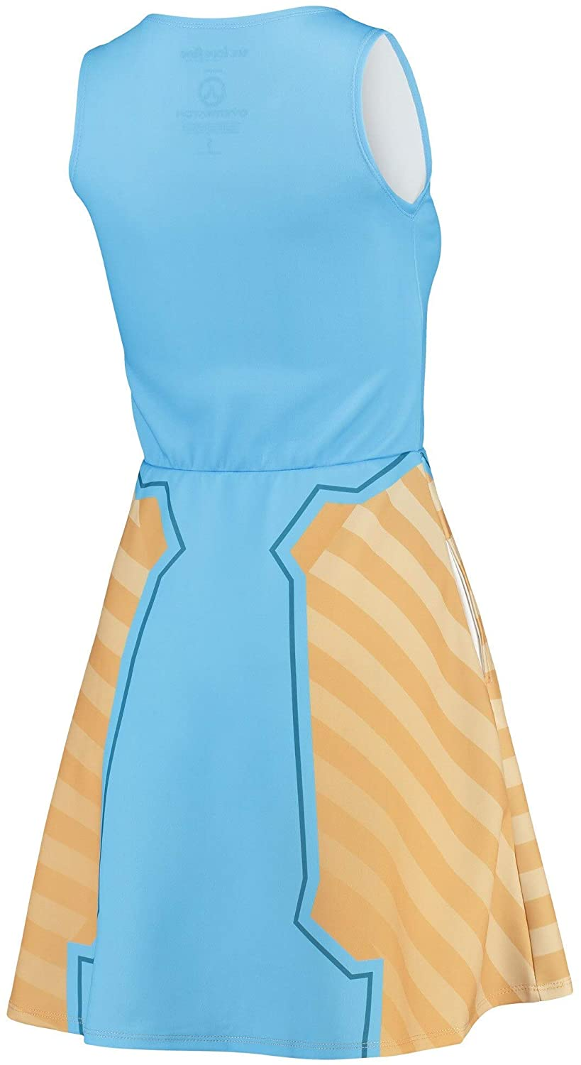 Overwatch Women's Symmetra Light Blue Character Sleeveless Skater Dress (Large)