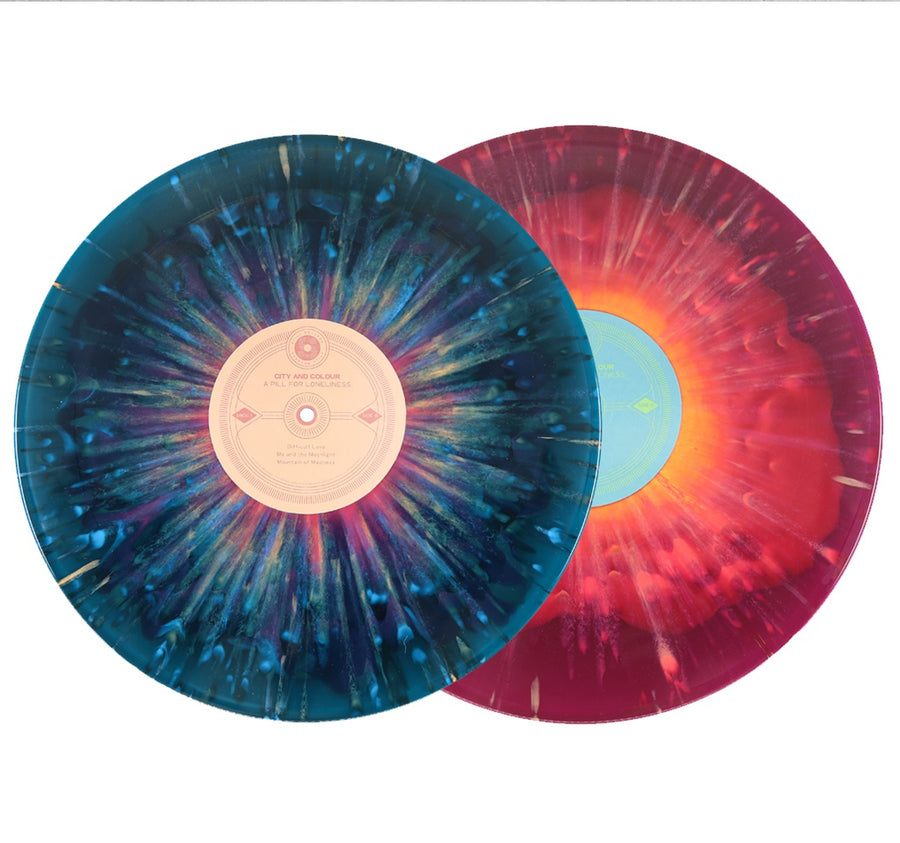 City And Colour - A Pill For Loneliness Exclusive Magenta inside Sea Blue Tangerine Splatter Vinyl