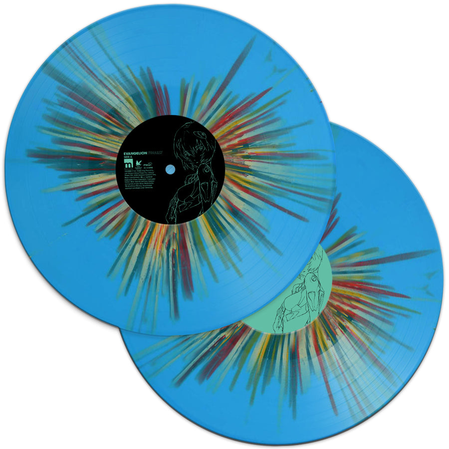 Evangelion Finally Soundtrack Exclusive Limited Edition Blue Rainbow Splattered Colored 2xLP Vinyl