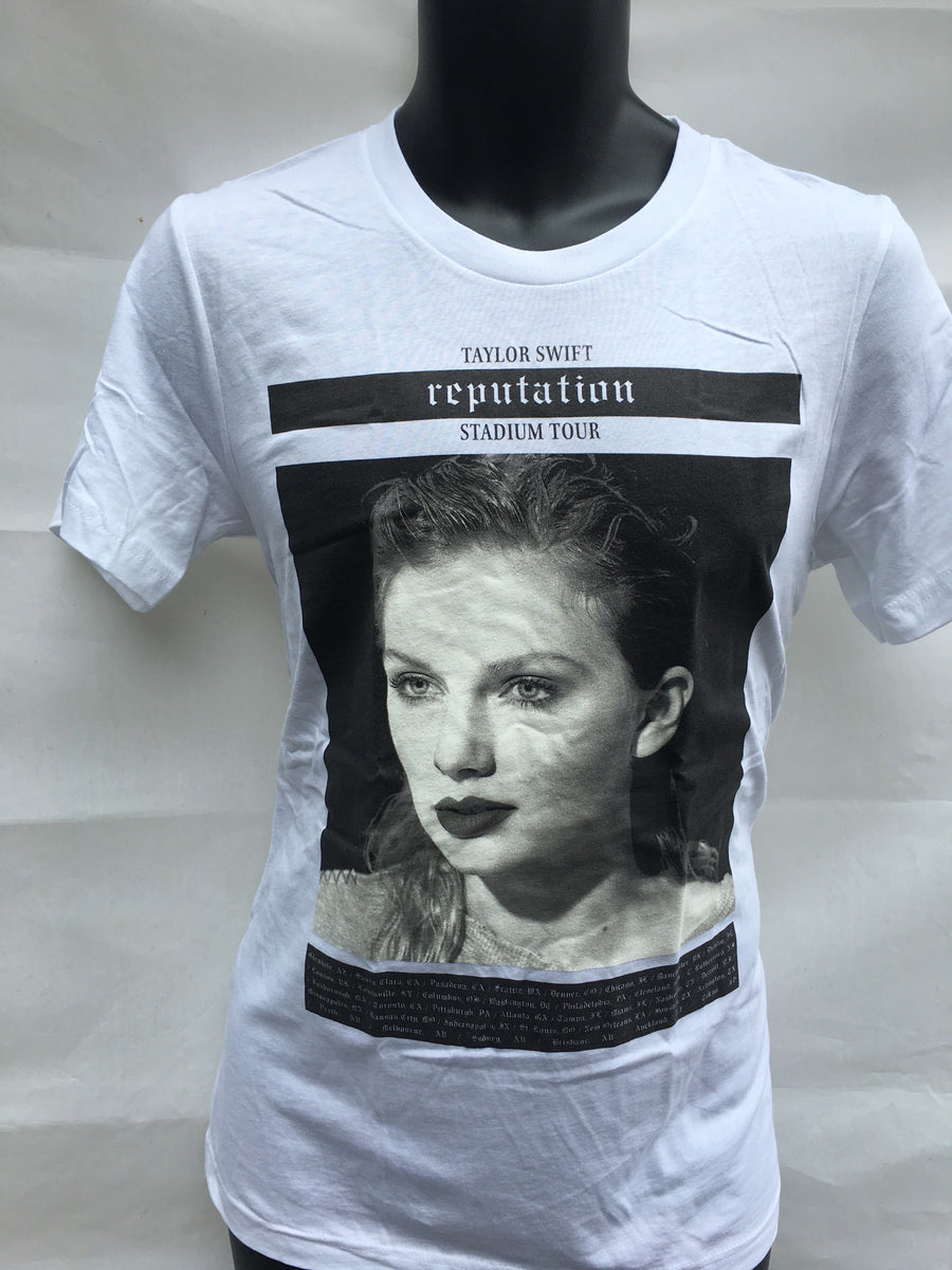 Taylor Swift Reputation White Photo Tour T-shirt Y-Medium