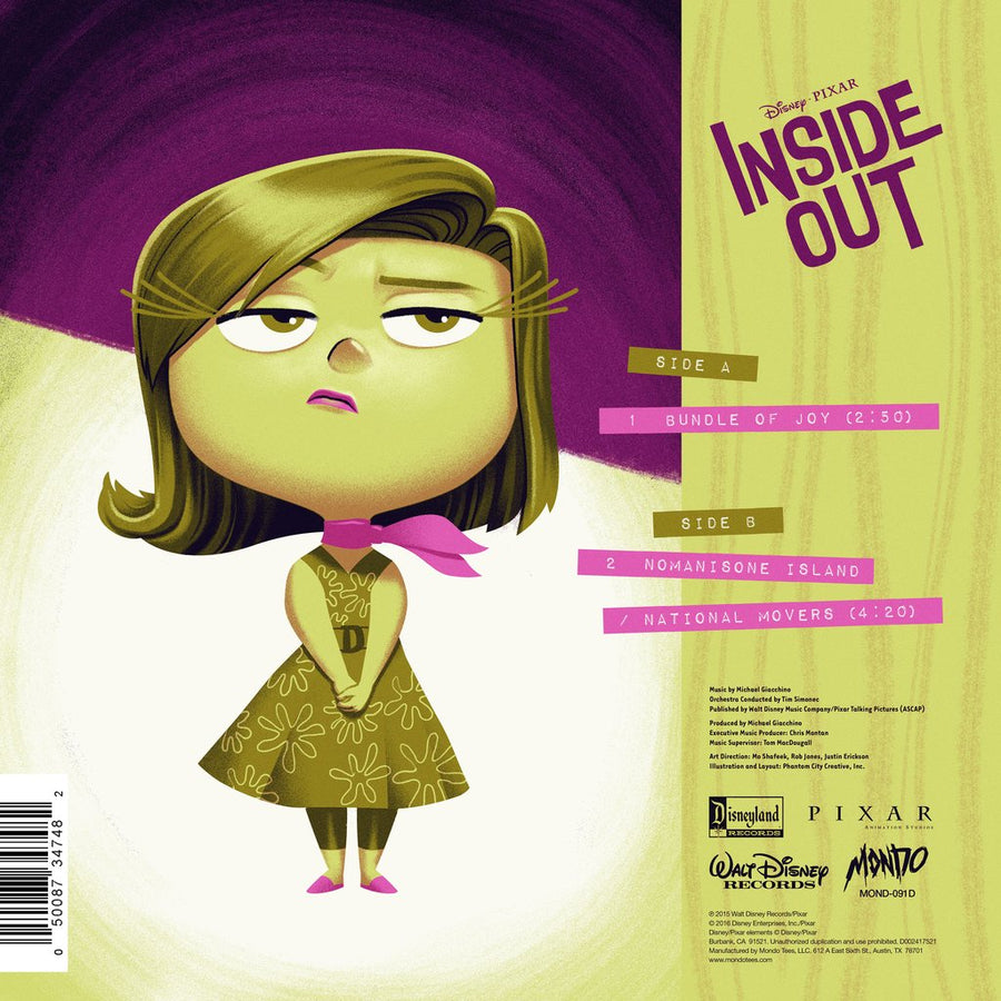 Michael Giacchino ‎- Inside Out (Disgust) Limited Edition Translucent Green 7-Inch Vinyl LP  Composer Michael Giacchino Artist Phantom City Creative Label Mondo Music Property Inside Out