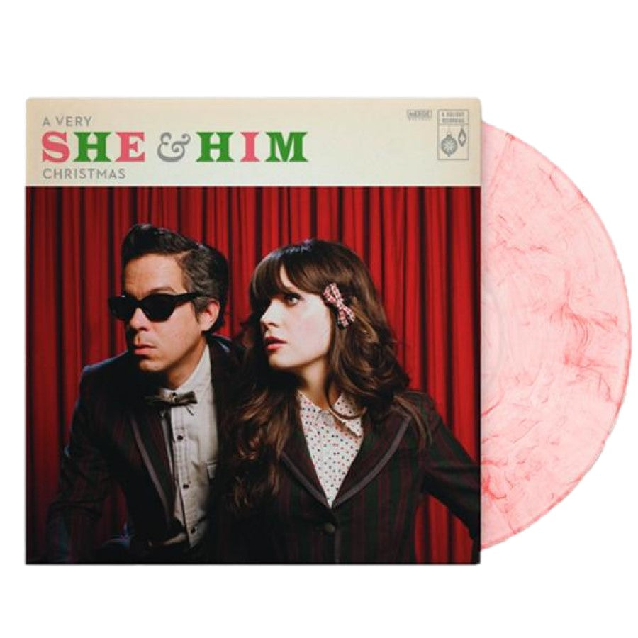 She & Him - A Very She & Him Christmas Exclusive Candy Cane Vinyl LP_Record Club Edition
