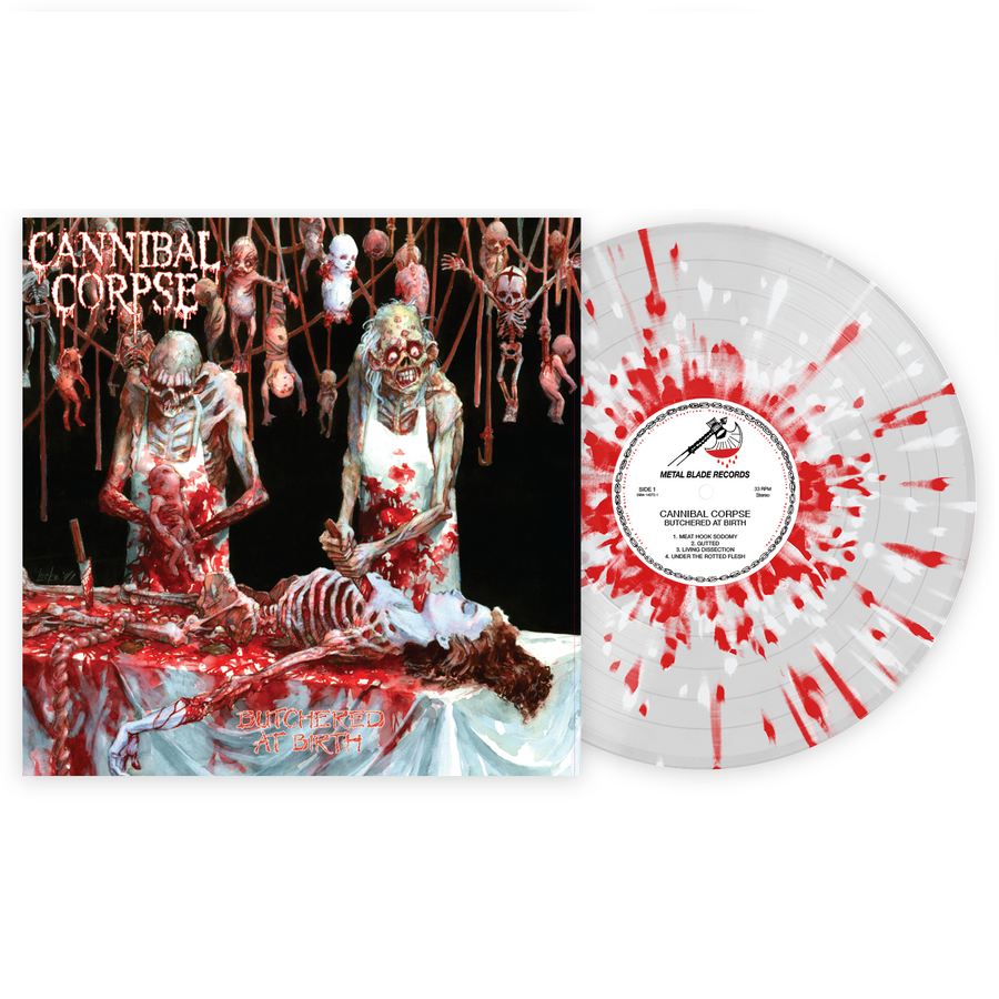 Cannibal Corpse - Butchered at Birth Exclusive Red & White Splatter with Clear LP Vinyl [VMP Anthology]