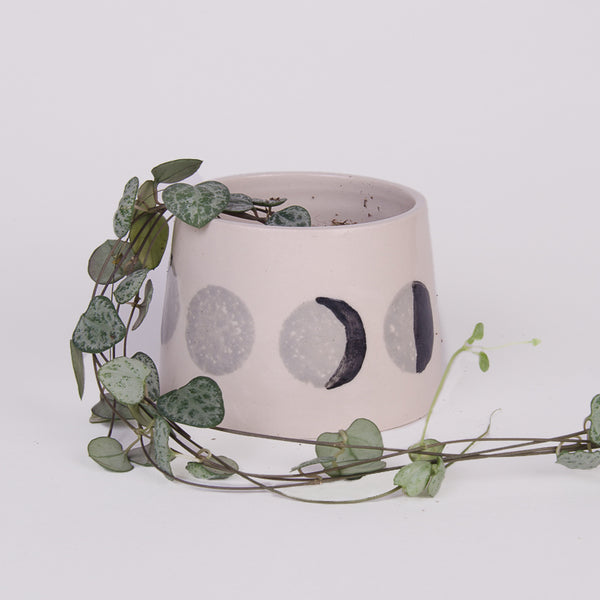 Moon Phases White Clay Plant Pot