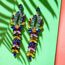 Load image into Gallery viewer, Multi-Coloured Statement Crystal Earrings