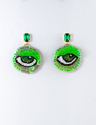 Pearlescent Green Eye Motif Earrings