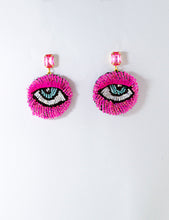 Load image into Gallery viewer, Hot Pink Eye Motif Earrings
