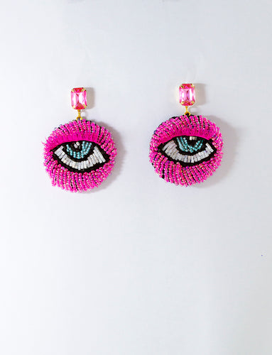 Hot Pink Eye Motif Earrings