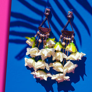 White Rose & Pearl Chandelier statement Earrings