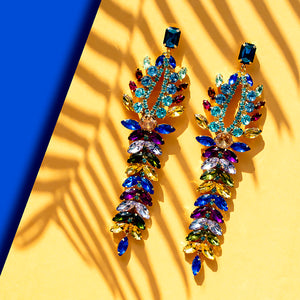 Multi-Coloured Statement Crystal Earrings