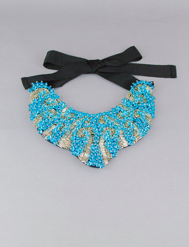 Blue and Silver Beaded Statement Necklace