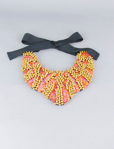 Aurora Borealis Red and Gold Statement Necklace